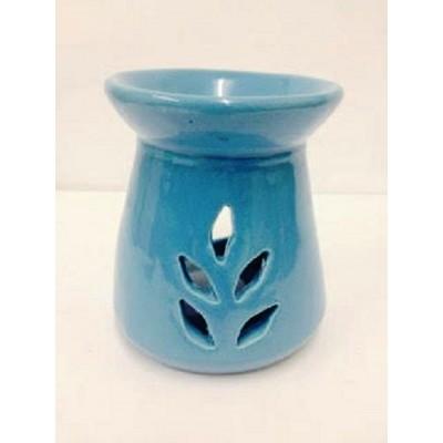 Ceramic Oil Burner 10cm Conical Leaf Cut-Out BLUE