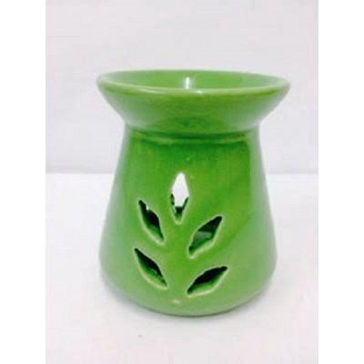 Ceramic Oil Burner 10cm Conical Leaf Cut-Out GREEN