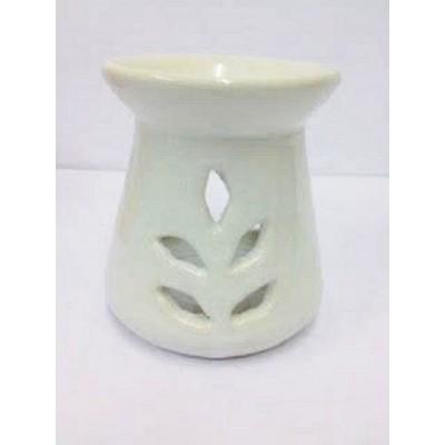 Ceramic Oil Burner 10cm Conical Leaf Cut-Out WHITE