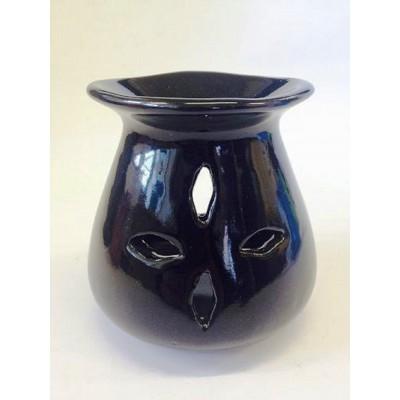 Ceramic Oil Burner 10cm Four Leaf Cut Out BLACK