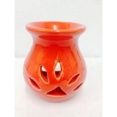 Ceramic Oil Burner 10cm :Leaf Cut Out RED