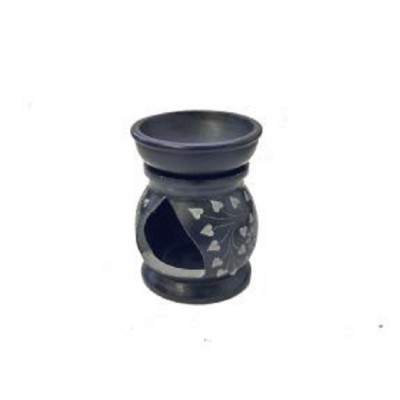Black Stone Oil Burner, Carved, 7.5cm Diameter