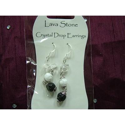 Lava Stone Crystal Drop Earrings