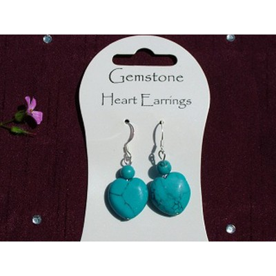 Turquoise Gemstone Heart Earrings