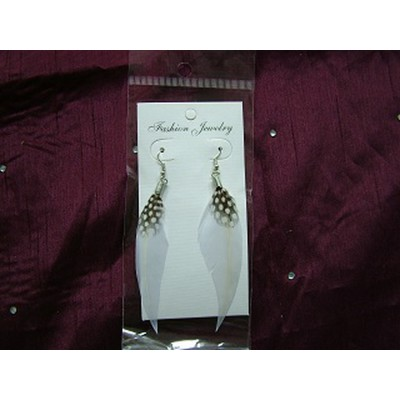 White Spotted Feather Earrings