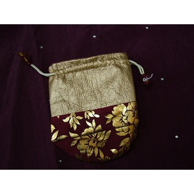 Big Red And Gold Flower Pouch