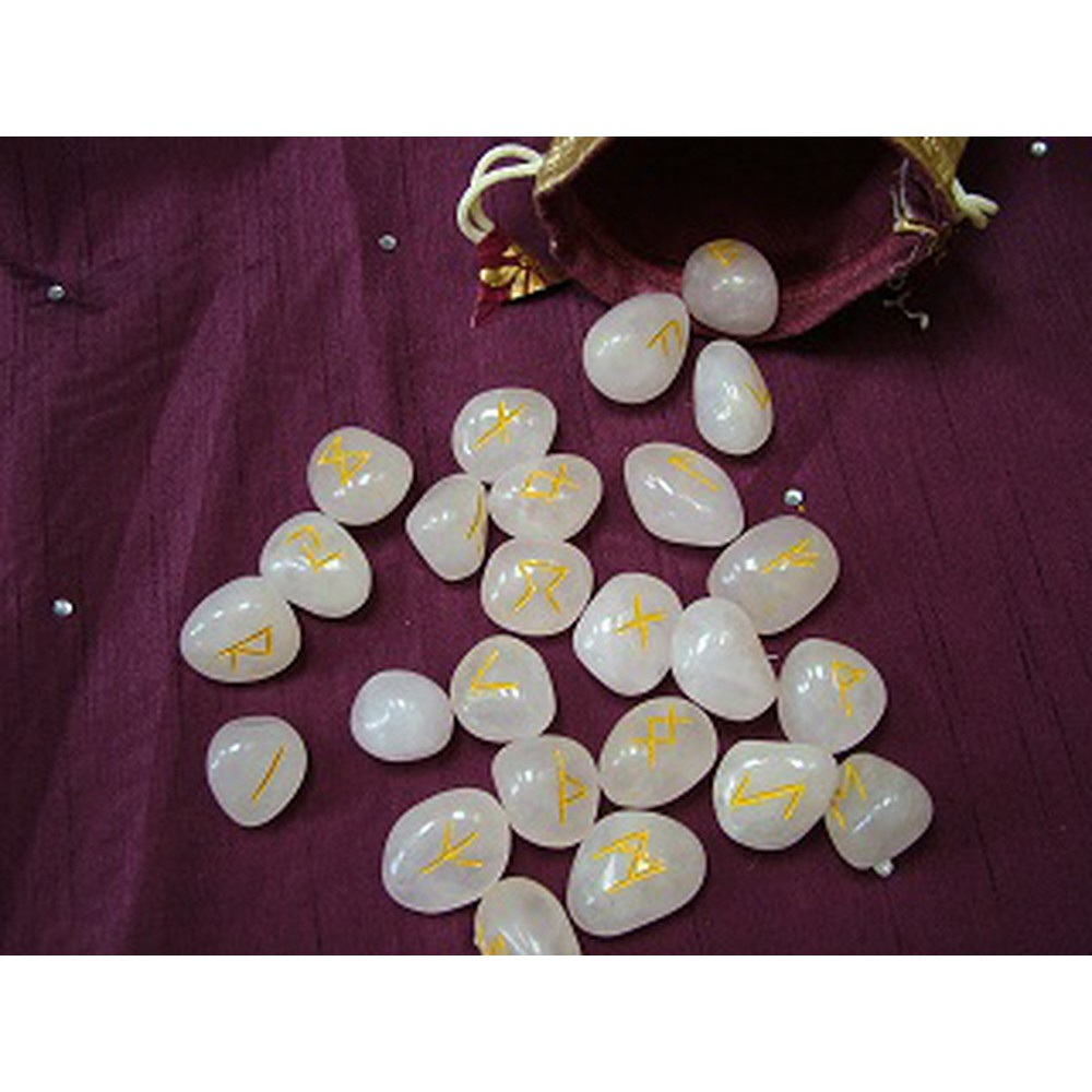 Rose Quartz Rune Set including Pouch and guide to using Runes
