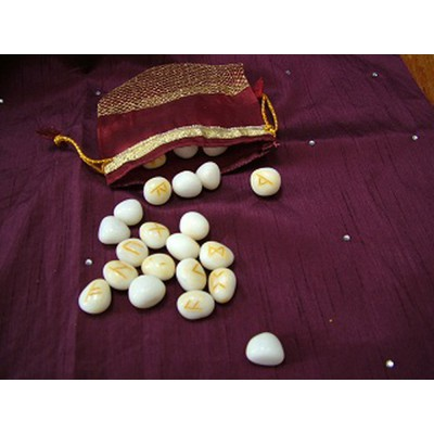 White Jasper Rune Set including Pouch and guide to using Runes