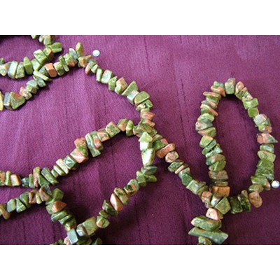 Unakite 35 inch Gemchip Necklace