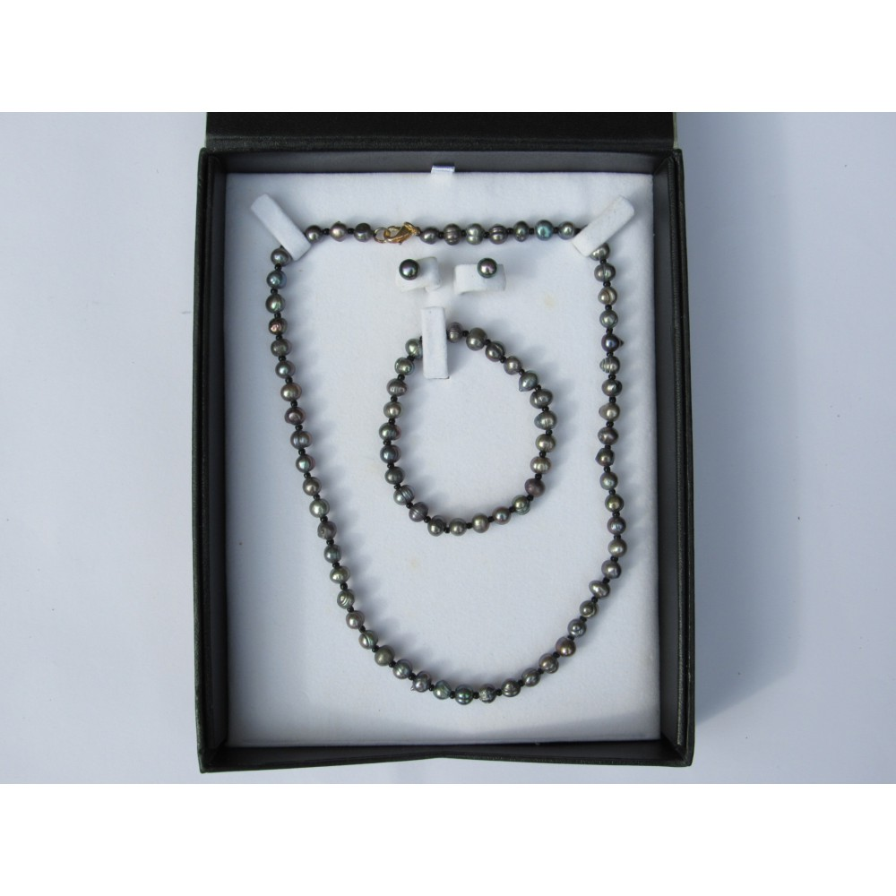 Black Pearl Boxed Jewellery Set