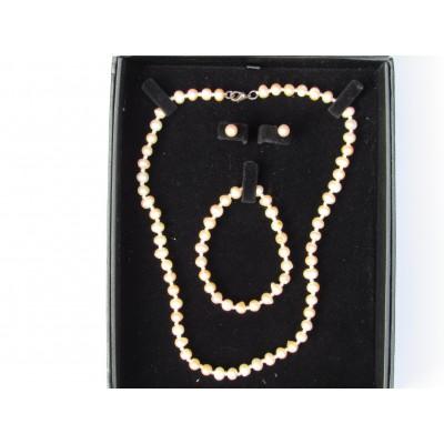 Peach Pearl Boxed Jewellery Set