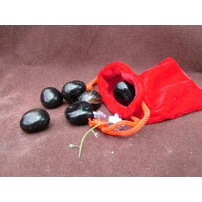 100g bag of Black Onyx Tumblestones in a velvet pouch