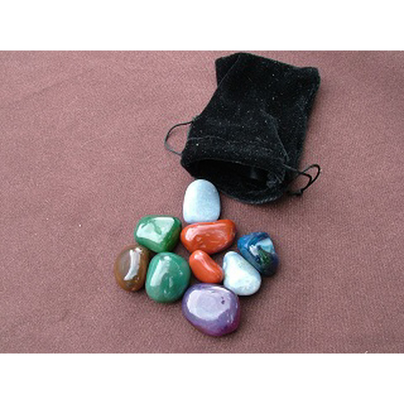 100g bag of mixed Agate Tumblestones in a velvet pouch